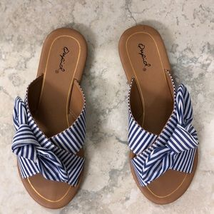 Blue and White Striped Sandals